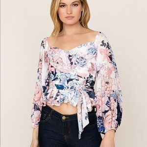 Revolve Yumi Kim NWT Floral Crossover Crop Top